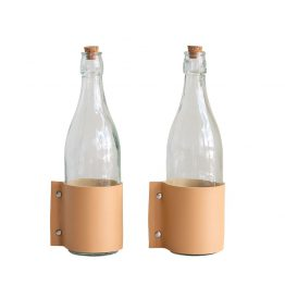 Glass Bottle With Leather Strap And Cork Stopper
