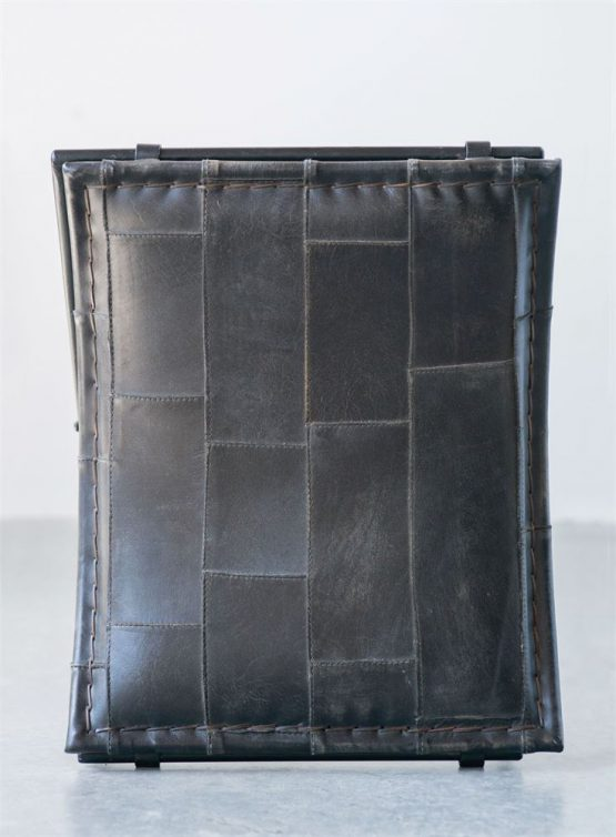 Black Metal Folding Stool With Patchwork Leather Seat