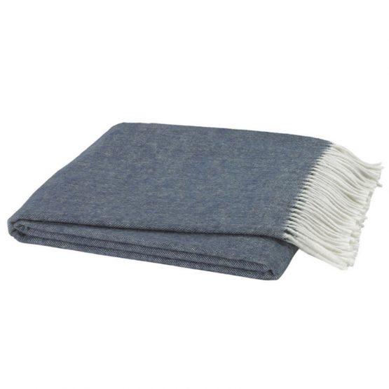 Midnight Blue Italian Herringbone Throw Blanket
