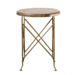 Side Table with Wood Top and Geometric Brass Base