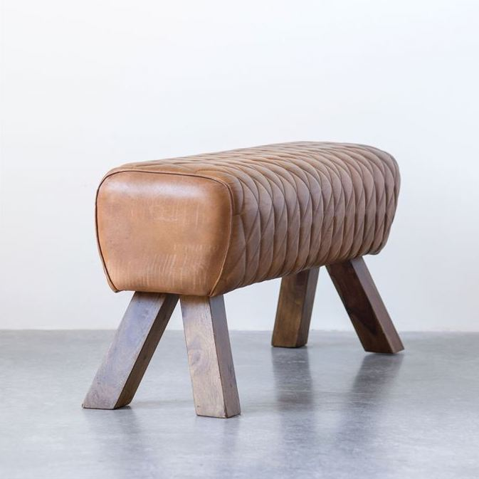 Stitched Quilted Camel Leather Bench on Wood Legs