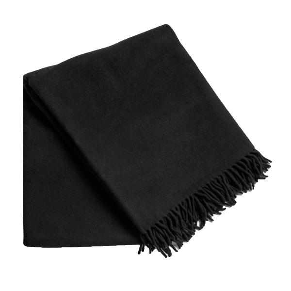 Black Wool Throw With Fringe