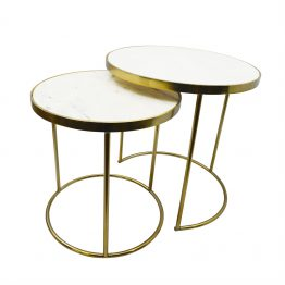 Round brass nesting tables with white marble top