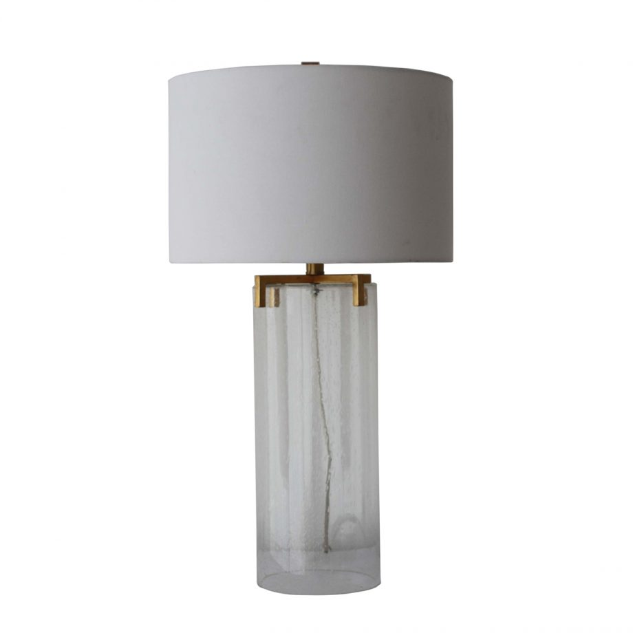 Clear Bubble Glass Cylinder Table Lamp with Brass Hardware