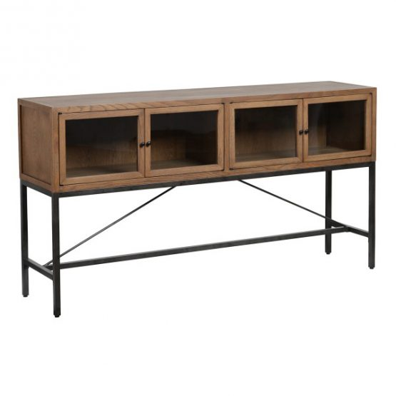 Connery Wood 4 Glass Door Console Table Black Metal Base