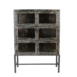 Dark Wood and Glass 6-Door Side Cabinet Hutch