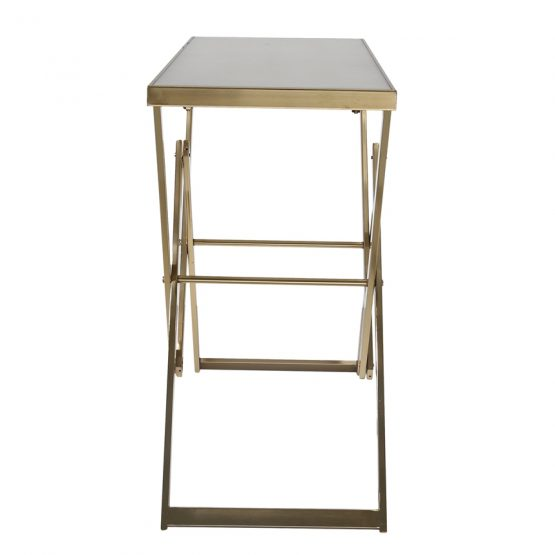 Gold Folding Leg Console Table with White Marble Top