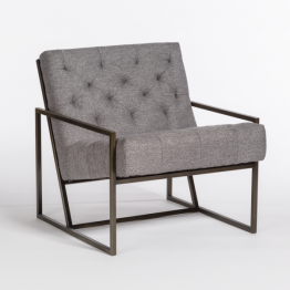Gray Occasional Chair with Open Contemporary Aged Bronze Base