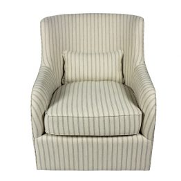 Hampton Blue and Cream Swivel Upholstered Lounge Chair