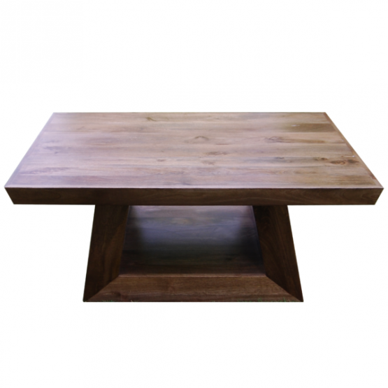 Mango wood rectangle coffee table with open square frame base