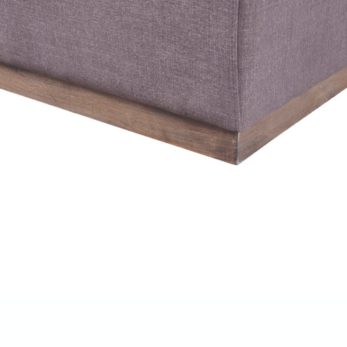 Taupe sofa on light wood base with right facing chaise