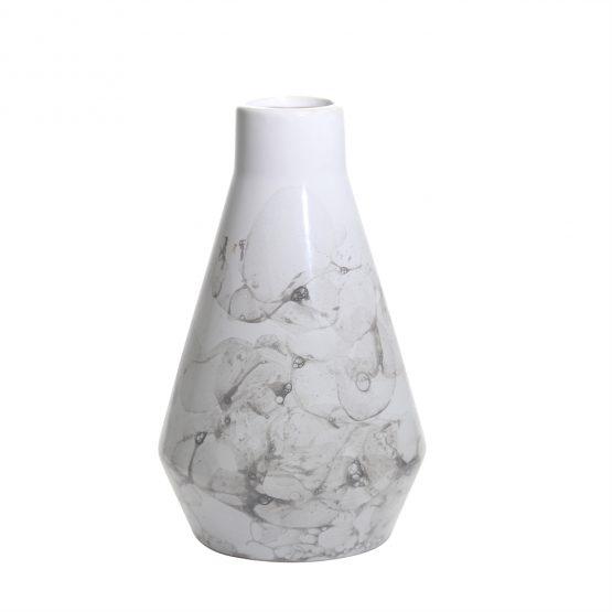 White Ceramic Vase with Black Soap Bubble Painted Finish