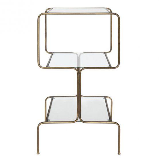3-Tier Brass and Glass Mod Shelf