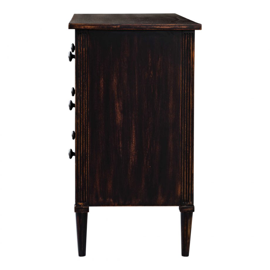 Acacia wood six drawer chest dresser with dark coffee stain