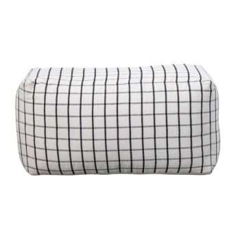 Cream double floor pouf with black stripes in checkered pattern