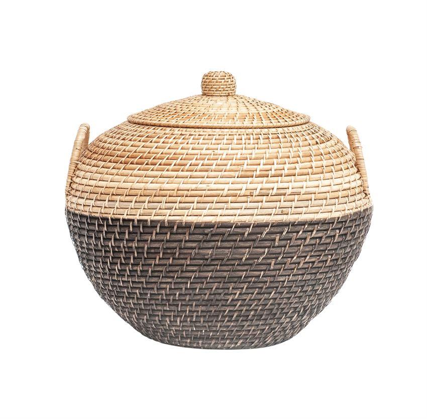 Black and natural woven rattan basket