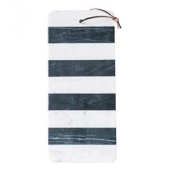 Black and white marble striped cheese board with leather strap