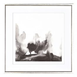 Black and white neutral monochrome abstract watercolor landscape art