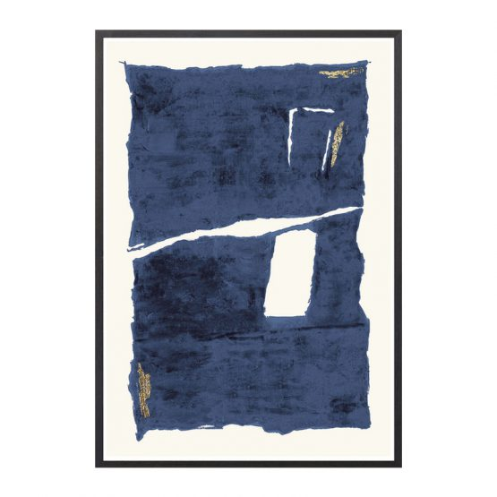 Blue White and Gold Midcentury Inspired Art