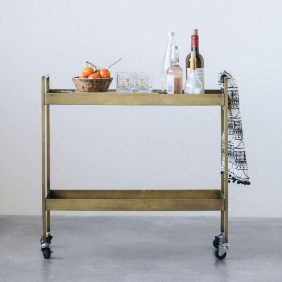 Brass Bar Cart On Casters