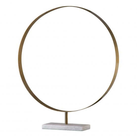 Brass Ring Decorative Object Sculpture on White Marble Base