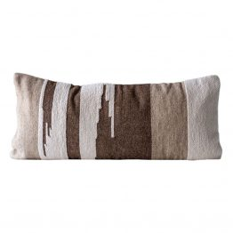 Brown and white southwest Kilim extended lumbar pillow