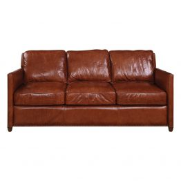 Brown leather three seat sofa with nailhead