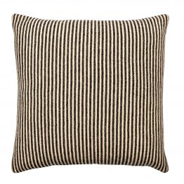 Brown and White Striped Pillow