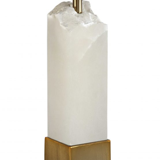 Chiseled Geo White Marble And Brass Floor Lamp