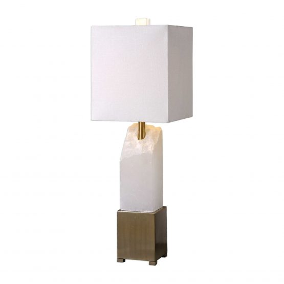 Chiseled Geo White Marble and Brass Table Lamp