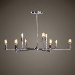 Chrome five-arm chandelier with nine Edison bulbs
