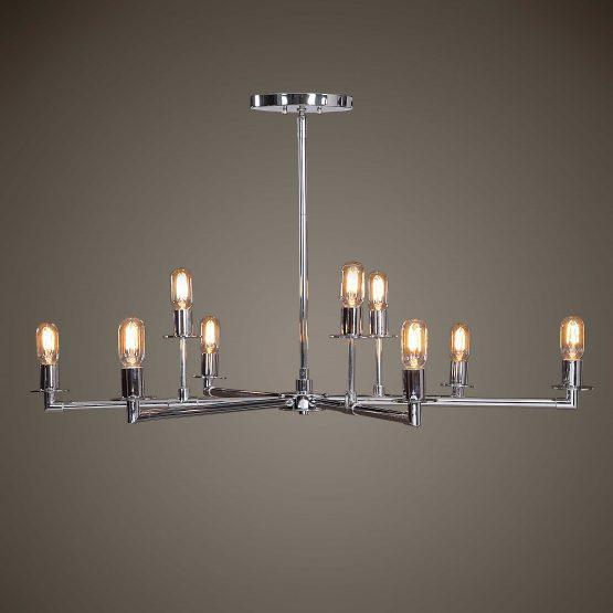 Chrome five-arm chandelier with nine Edison bulbs