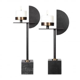 Contemporary Black Metal Pillar Candle Holders