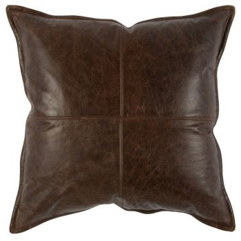 Distressed Brown Leather Pillow