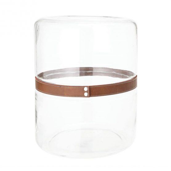 Glass Drum Vase or Accent Table with Leather Strap