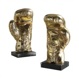 Set of two gold boxing glove decorative objects