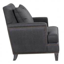 Gray herringbone armchair with brass nailhead