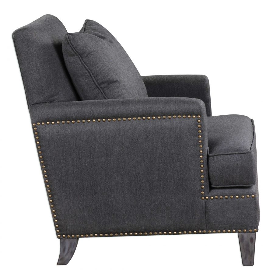 Gray herringbone armchair with brass nailhead