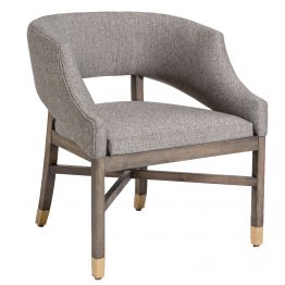 Gray Tweed Distressed Beachwood Dining Chair