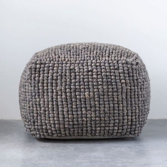 Gray Wool Floor Pouf