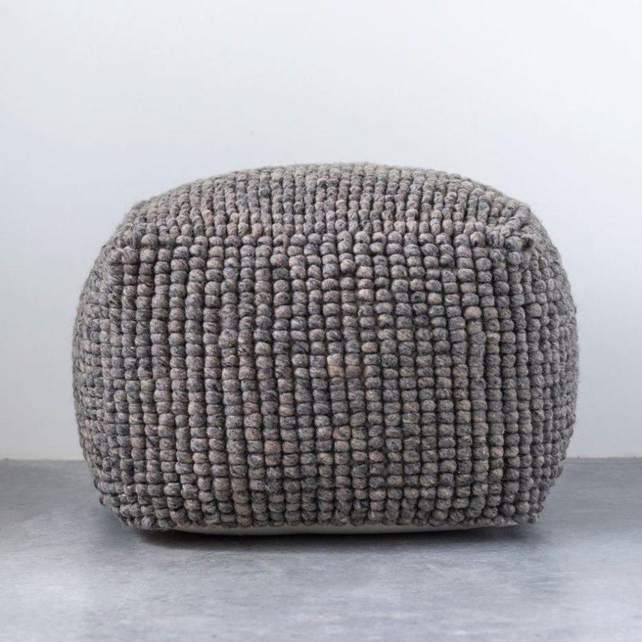 Gray Wool Floor Pouf