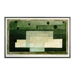 Green Geometric Block Watercolor Art