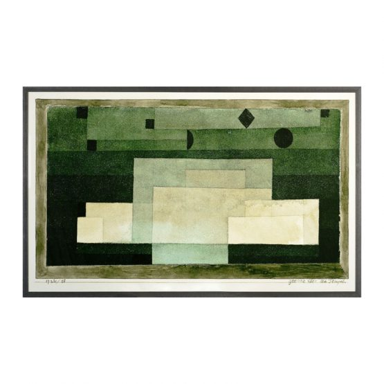 Green Geometric Block Watercolor Art