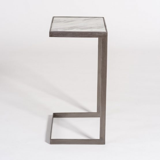 Marble and Gunmetal Slide Under Sofa Accent Table