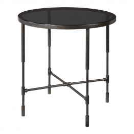 Metal accent table with black glass top