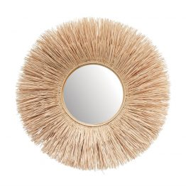 Round Burst Bleached Wicker Wall Mirror