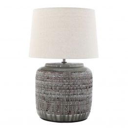 Round engraved ceramic table lamp
