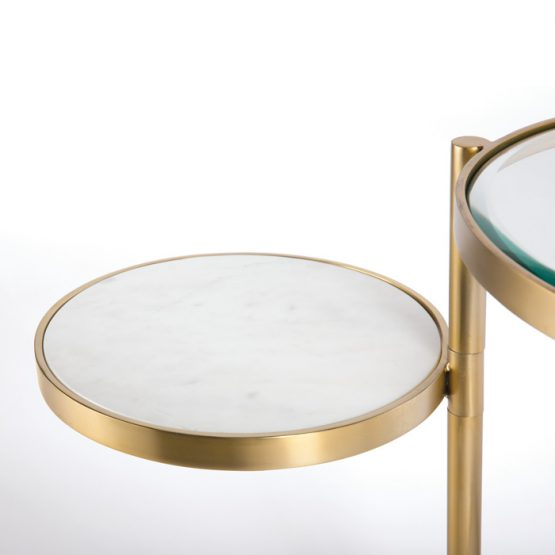 Two tier brass side table with glass top and white marble top