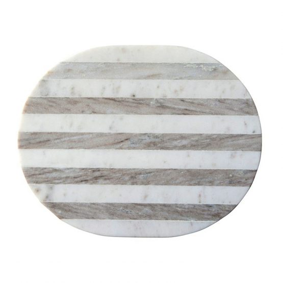 White and tan striped marble oval cheese board