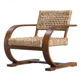 Woven Fiber and Dark Wood Contemporary Accent Chair